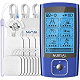 NURSAL 24 Modes Dual Channel TENS EMS Unit Muscle Stimulator for Pain Relief Therapy, Rechargeable TENS Machine with 12 Pcs Electrode Pads/Continuous Stable Mode/Memory Function