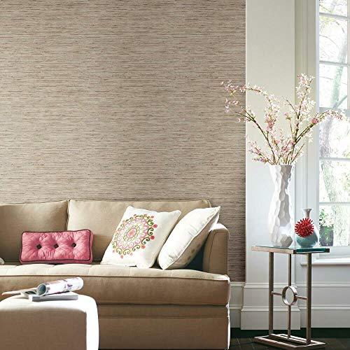 RoomMates - RMK9031WP Grasscloth Peel and Stick Wallpaper,Tan