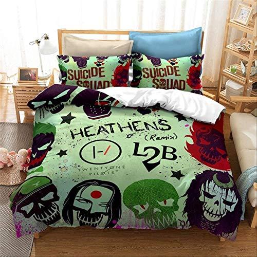 WGLG Bedding 3 Piece Set, 3D Duvet Cover Pillowcases Set Twin Full Queen King Size Bedding Set Printed Bedclothes Home Textile Au Double 180X210Cm Silver
