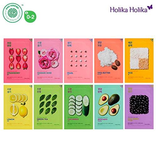 Holika Holika Pure Essence Mask Sheet 20ml Pack of 10, 100% Natural Tencel Sheet, Easy to Open