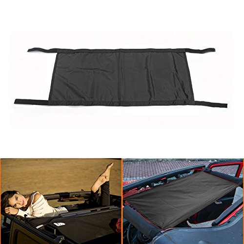 LITTOU Black Heavy Duty Universal Waterproof Car Roof Hammock Car Bed Rest For Wrangler 2007-2017 (Black)