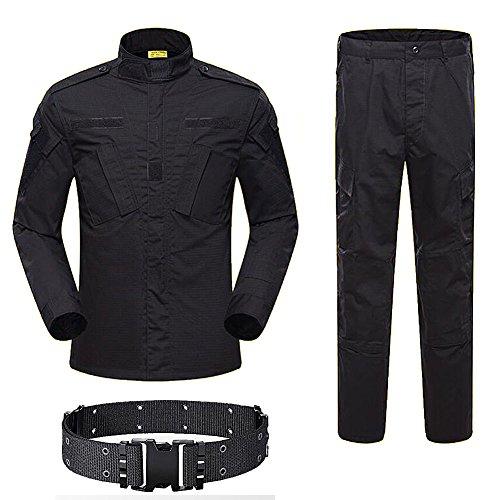 H World Shopping hombres táctico BDU Combat Uniform chaqueta camisa y pantalones traje para ejército militar airsoft paintball caza tiro juego guerra negro (S)