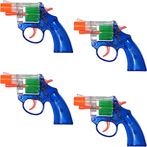 Cap Gun Toy Big Pop See-Thru Hot Shots Quality Plastic Great Bang Party Favors Supplies for Kids, Set of 4