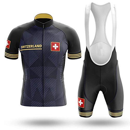 Maillot De Ciclismo Conjunto Para Hombre,Rayas Grises Negras Bandera Suiza Mtb Ropa...