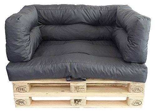 Prosanvita Palettenkissen Graphit, Moderne Paletten-Couchkissen für den Innen- und Außenbereich, abwaschbare Sitzkissen, Rückenkissen 2-teilig ca. 60 x 40 cm