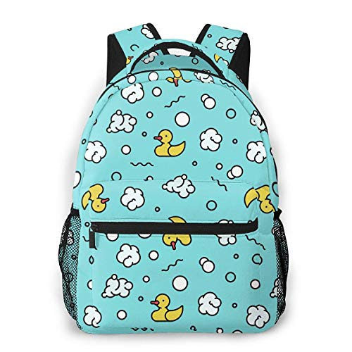 shenguang Zaino da viaggio leggero con anatra e bolle, borsa da scuola casual per regalo da donna e adolescente