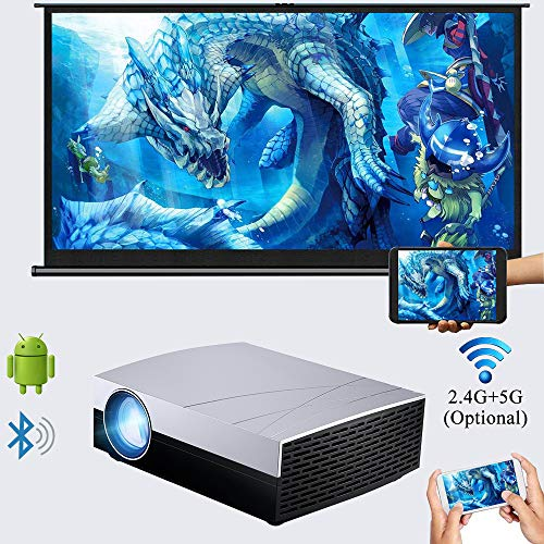 """720p Native Video Projector WiFi, 3800 Lumens LED Projector Android Bluetooth, Support 1080p 4K 200"""" Image, Compatible with PC Games Consoles TV Sticks Smartphone Tablets, for Home Office Outdoor"""