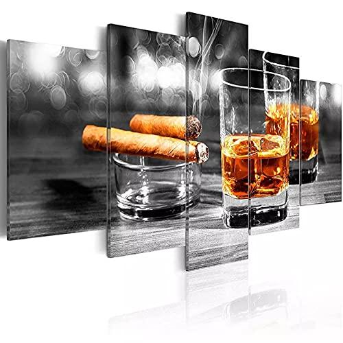 JHBJH 5 Cuadros en Lienzo 5 Piezas de Arte de Pared Abstracto Cartel de cigarros Copa de Vino Lienzo Pintura decoración Moderna Cuadros modulares Sala de Estar decoración del hogar impresión HD