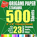 [Taro's Origami Studio] Standard 6 Inch One Sided 23 Colors 500 Sheets Square Easy Fold Premium Japanese Paper for Beginner (Gold and Silver Included)