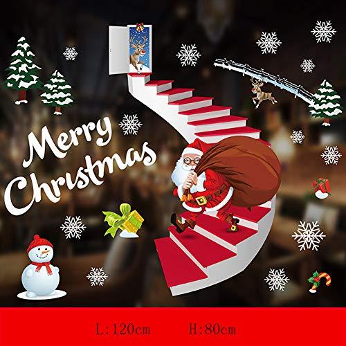 Adesivi natalizi per finestra, con Babbo Natale, riutilizzabili, statici, in PVC, per finestre, pareti, porte e negozi (K)