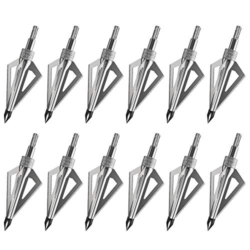 SPEED TRACK Hunting Archery Broadheads, 3 Fixed Blades 100 Grain Broad Heads, Screw-in Arrow Heads Tips for Crossbow and Compound Bow (12 Pack)