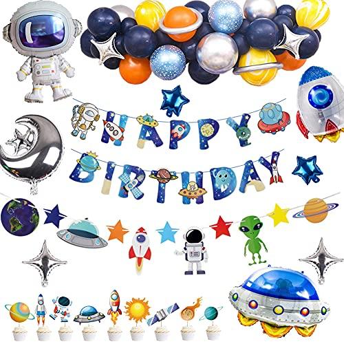 Set di decorazioni per compleanno con spazio esterno – Bandiera Galassia, ghirlanda del sistema solare, palloncini, palloncini astronauta, decorazione per torta universale