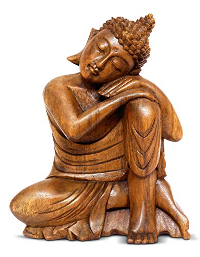 G6 Collection 12' Wooden Serene Sleeping Buddha Statue Hand Carved Sculpture Handmade Figurine Decorative Home Decor Accent Handcrafted Traditional Modern Decoration Sitting Resting Buddha (Medium)