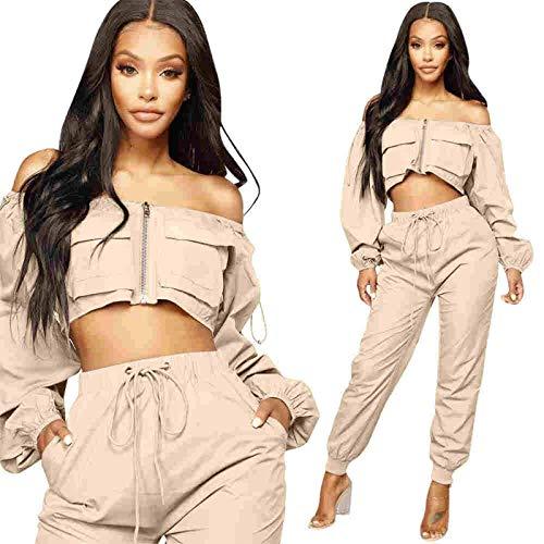 None/Brand Conjunto de 2 Piezas Crop Top y Pantalones Harem Sexy con Hombros Descubiertos Manga Larga Mujer Streetwear Conjunto de Dos Piezas Pantalones Cargo Chándal Informal