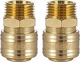 Poppstar Conectores rapidos aire comprimido, diámetro nominal 7,2 mm con rosca exterior (macho) de 1/2 pulgada para conexión de aire comprimido, 2pzas