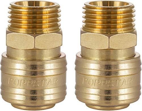 Poppstar 2x Schnellkupplung Druckluft NW 7,2 mit 1/2 Zoll Außengewinde für Druckluft-Anschluss
