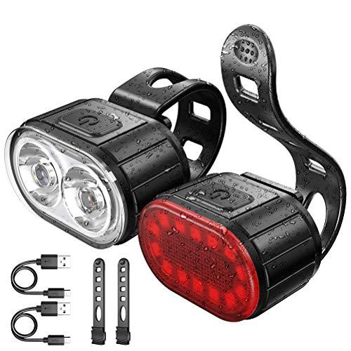 LED Fahrradlicht Set 300 Lumen USB Wiederaufladbare Frontlicht und Rücklicht Set Fahrradlampe IP55 Wasserdicht für Kinder Jogger Läufer Spaziergänger Wanderer Radfahrer