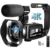 4Kビデオカメラ WIFI機能 48MP 18Xデジタルズーム 予備バッテリー 手持ちスタビライザー 日本語取扱説明書