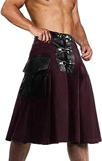 Taoliyuan Mens Scottish Utility Kilt Gothic Traditional Highland Leather Patchwork Costume with Cargo Pockets
