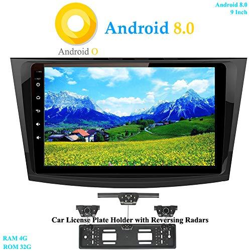 XISEDO Android 8.0 in-Dash Autoradio 9 Pouces Écran Tactile Voiture Radio 8-Core RAM 4G ROM 32G Autoradio pour Mazda 3 (2010-2013) (avec Cadre de Plaque d'immatriculation avec Radar de Recul)