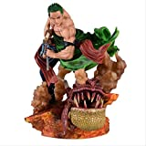 Therfk Anime One Piece Action Figure 42Cm, Roronoa Zoro Fighting PVC Cartoon Figurine Toys Collectib...