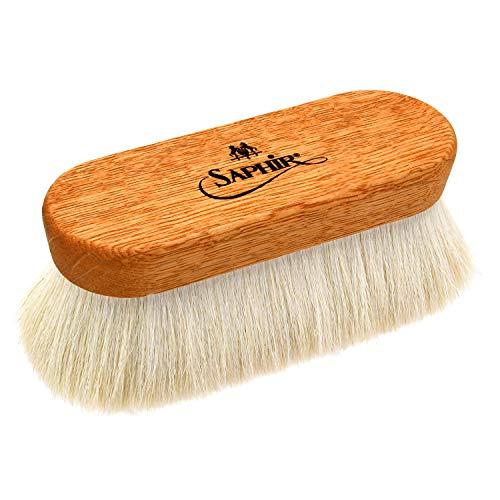 [サフィールノワール] 鏡面磨きに最適な仕上用ブラシ フィニッシャーブラシ 靴磨き ヤギ毛 山羊 馬毛 熊野筆 ハイシャイン グラサージュ ホワイト free size