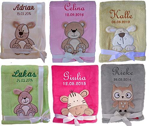 Kuschlige Babydecke 3d WEICH FLAUSCHIG mit Namen und Datum bestickt