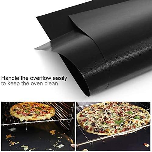 3pcs 33x40cm PTFE Non-adhésif Bbq Grill Tapis Réutilisable Barbecue Plaques De Cuisson Au Four Teflon Feuilles De Cuisson Bbq Outils (Color : Black) Black