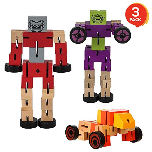 ArtCreativity Wooden Toy Robots - 3 Pack - Adorable Action Figures, Toy Cars in Assorted Colors for Boys and Girls - Develop Cognitive and Motor Skills - Fun Gift and Birthday Party Favors for Kids