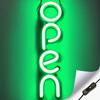Vertical LED Neon Open Sign for Business - Bright LED Open Sign with ON & Off Switch - Lightweight & Energy Efficient - Green