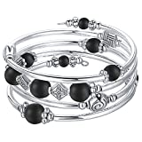 Beaded Pearl Bangle Wrap Bracelet - Fashion Bohemian Jewelry Multilayer Charm Bracelet with Thick Silver Metal Beads, Gift For Women and Girls (Matte Black)
