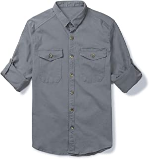 Mens Military Style Long Sleeve Button Down Shirts Cargo Work Shirt