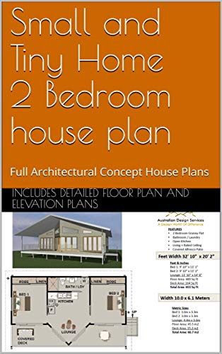 Small and Tiny Home 2 Bedroom house plan: Full Architectural Concept House Plans (English Edition)