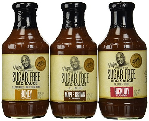 G Hughes Smokehouse Sugar Free BBQ Sauce 18oz Glass Bottle (Pack of 3) Select Flavor Below (Sampler Pack - 1 each of Hickory Maple Brown & Honey)