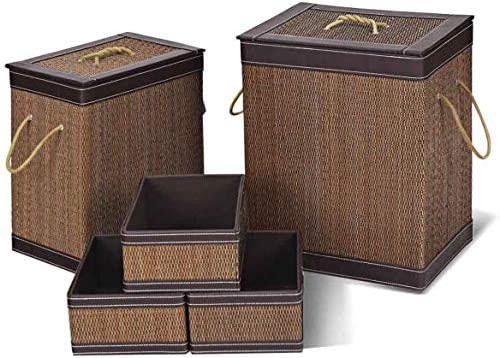 wholesale Giantex 5-Piece Bamboo Hampers Large and Square,for Shelves wholesale Clothes, Toys, Books Organizer Home Storage Basket W/ popular Lid,Triple Handles Eco-Friendly Material Dust-proof Laundry Storage Basket Set online