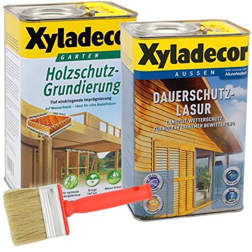 Xyladecor Dauerschutzlasur und Grundierung, UV Holz-Lasur für außen im Set, mit Pinsel (1x 2,5L + 1x 2,5L, kiefer)