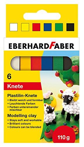 Eberhard Faber 572006 - Plastilin Knete im 6-er Kartonetui, Mehrfarbig