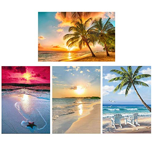 Diamond Painting 4 Pack 12x16inch Kits for Adults Kids , 5D Diamond Art DIY Valentines Day Gifts Decor, Paint with Diamonds Full Drill Rhinestone Kit for Girl Beach Tree Whale…