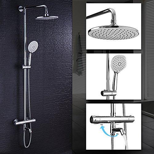 Hausbath Duschbrause-Set Überkopfbrause-Set Regal Duschsystem mit Thermostat Duschset Duscharmatur Handbrause Duschkopf Regendusche