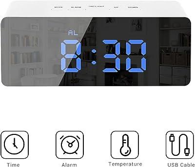 Mallalah Reloj LED Digital multifunción Rectangular función Espejo luz Nocturna Snooze regulador batería o USB Recargable