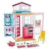 Barbie Mobilier coffret maison 2 étages et 4 pièces avec accessoires, jouet pour enfant, DVV47