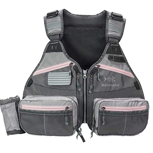 BASSDASH Men Women Fly Fishing Vest for Adjustable Size with...