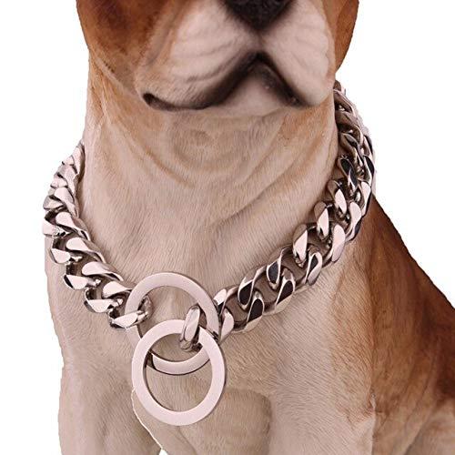 LYXL Goldenes Hundehalsband Edelstahl Rose Gold Plated Cuban Dog Haustier Kettenhalsband 24 & quot 15mm sivller
