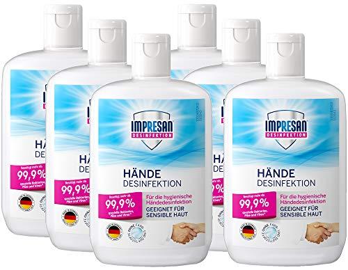 Impresan Hände Desinfektion: Flüssiges Desinfektionsmittel - hygienische Handdesinfektion - antibakteriell - 6 x 150ml