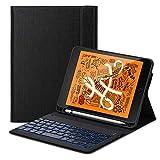 iPad Mini 5 2019 Tastatur Hülle, Keyboard Hülle mit Integrierte Bluetooth-Tastatur QWERTZ (Deutsch) Ständer Stifthalter Stoßfest Tasche Smart Folio Cover Schützhülle (Schwarz)