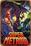 Super Metroid Poster Cartel Retro de hojalata, Cartel Vintage, Placa, decoración de Pared para Bar, cafetería, jardín, Dormitorio, Oficina, Hotel, 20X30 cm