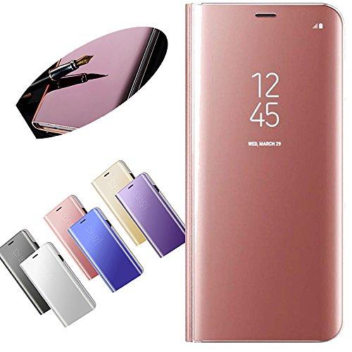 Nadoli Coque pour Huawei P10 Plus,Miroir Coque en PU Cuir Étui de Housse à Rabat Transparente View Dur PC Flip Coquille et Etui Wallet Cas pour Huawei P10 Plus,Or Rose