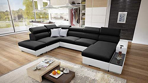 Wohnlandschaft Ecksofa Picanto mit Schlaffunktion Bettkasten Groß XXL Big Sofa Gewebe Kunstleder Grau Schwarz Blau Lila U-Form 26 (Rechts)