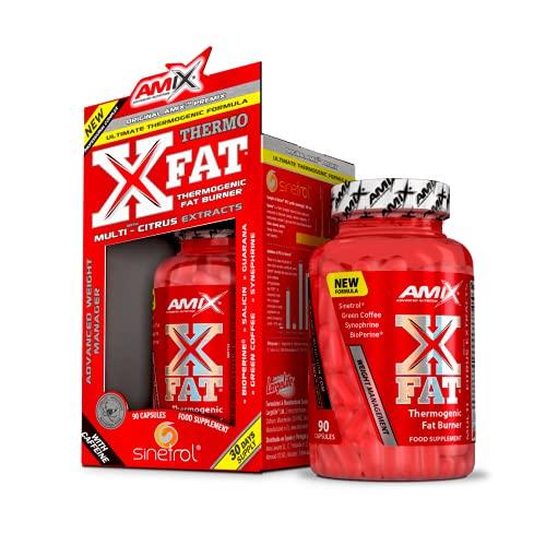 Amix - X-Fat Thermogenic Fat Burner - Suplemento Alimenticio - Quemador de Grasa - Con 7 Ingredientes de Alta Potencia - Nutrición Deportiva - Contiene 90 Cápsulas