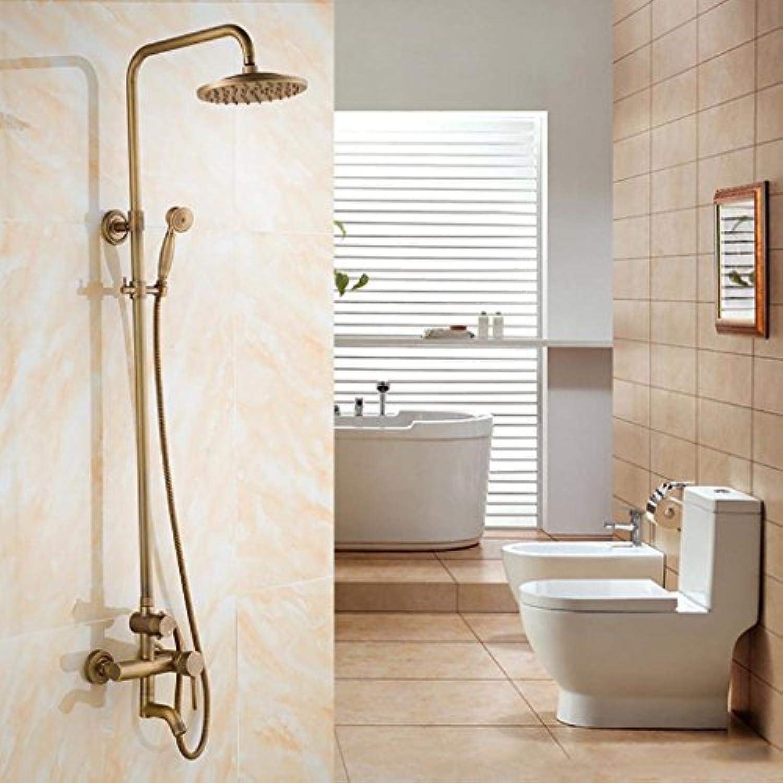 XYQ - Retro Shower System Handbrause und Top Dusche + Wandhalterung Armaturen Duschsystem Schwarz l eingerieben Bronze Antike Dusche Dusche Set Kupfer Bad heie und kalte Dusche Wasserhahn Dusche